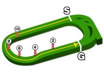 東京競馬場・芝1600mコース図