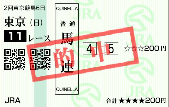 2016年NHKマイルCの的中馬券
