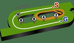 新潟競馬場・芝1600mコース図