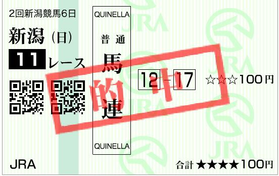 2016年関屋記念の的中馬券