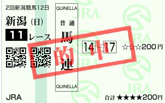 2016年新潟記念の的中馬券