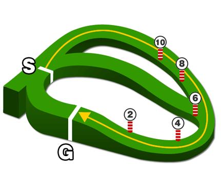 中山競馬場・芝1600mコース図