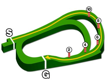阪神競馬場・芝1800mコース図