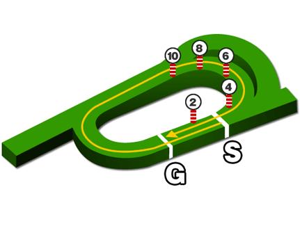 京都競馬場、芝2000m(内)コースデータ図