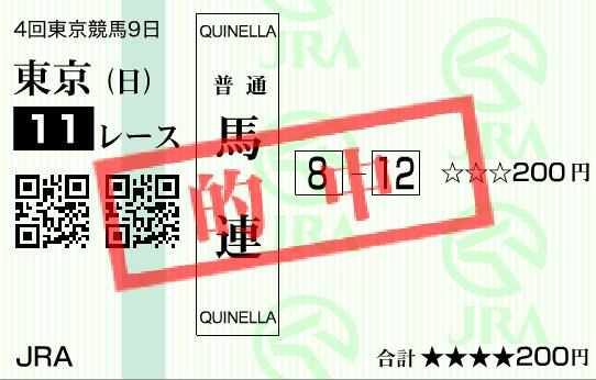 2016年天皇賞秋的中馬券