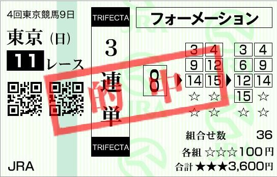 2016年天皇賞秋三連単的中馬券