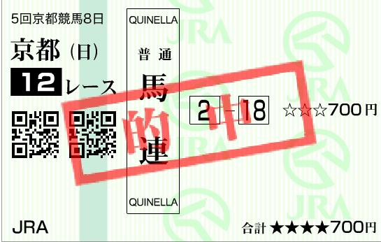 2016年の京阪杯の的中馬券