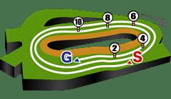中山競馬場、芝3600mコース図