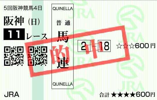 2016年阪神ジュベナイルフィリーズの的中馬券