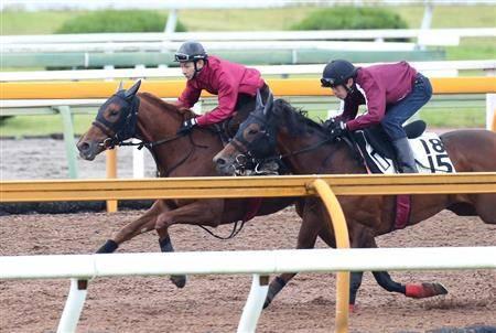 古馬に楽々と先着するラッキーライラック(左)