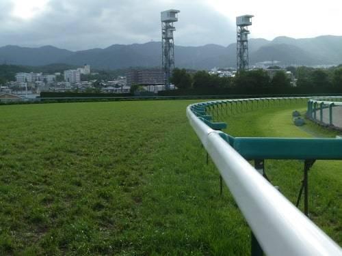 競馬場のコースを形取る柵の事をラチと言う
