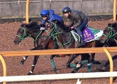サートゥルナーリアと併せ馬をするエアウィンザー(左)