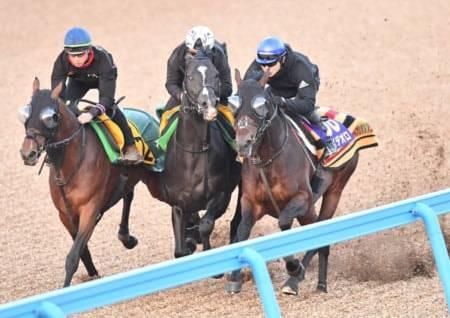 三浦皇成騎手が跨り3頭併せの木曜追いに臨んだレイデオロ(右)