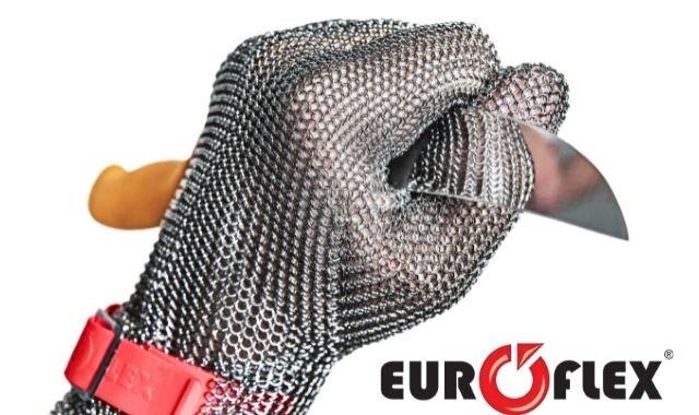 【EUROFLEX クサリ手袋コンフォート】クサリで防御!?突き刺し防止、耐切創に優れたオールステンレス手袋