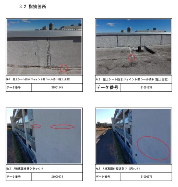 図2:空撮した写真を使った調査点検報告書の例