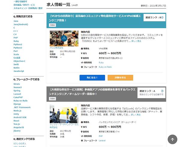図4:求人情報一覧画面。求人ごとにランクが示されている