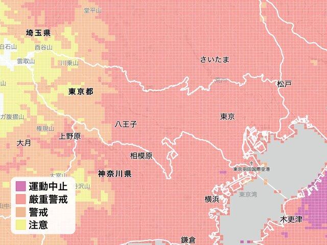 図1:1kmメッシュで情報取得が可能。画面は東京都周辺...