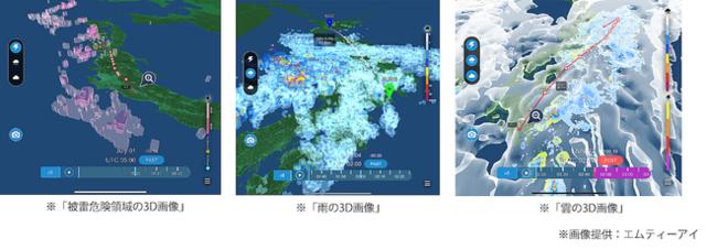 図1:気象現象を3Dで可視化(エムティーアイ)