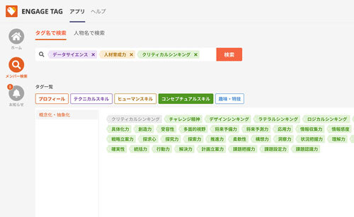 図1:タグによる検索機能